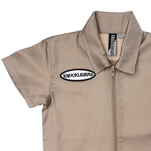 Knuckleheads Kids Coverall for Boys, Mechanic Halloween Khaki Jumpsuit Costume Baby Outfit