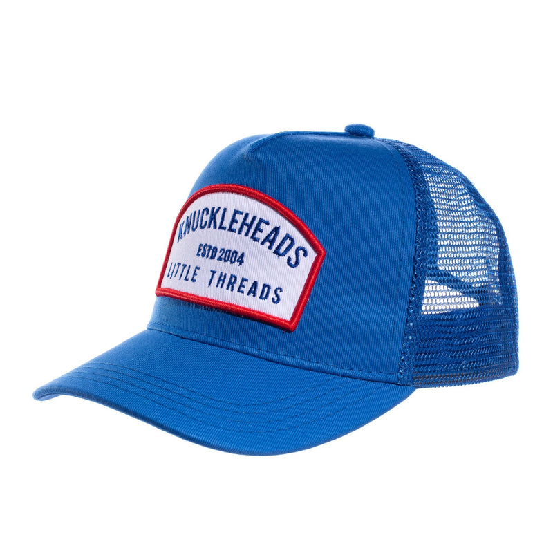 Blue White Patch Knuckleheads Trucker Hat snapback flat bill sun mesh