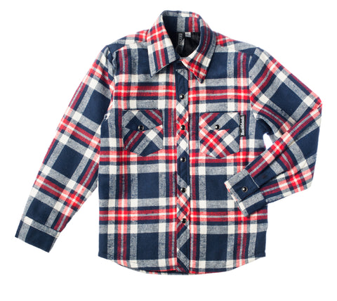 Navy Party Knuckleheads Long Sleeve Plaid Rockabilly Shirt