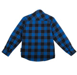 Blue and Black Plaid Marine Knuckleheads Long Sleeve Rockabilly Shirt