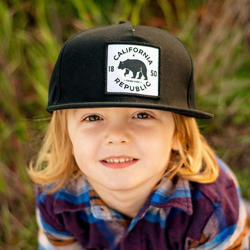 Knuckleheads California Republic Black Baby Boy Infant Trucker Hat Sun Mesh Baseball Cap snapback flat bill