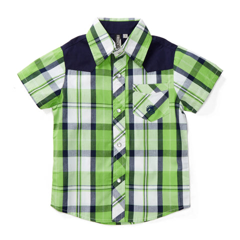 Knuckleheads Clothing Joshua Plaid Button Down Short Sleeve Kids Boy Shirt