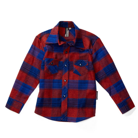 Midnight Party Knuckleheads Long Sleeve Plaid Rockabilly Shirt