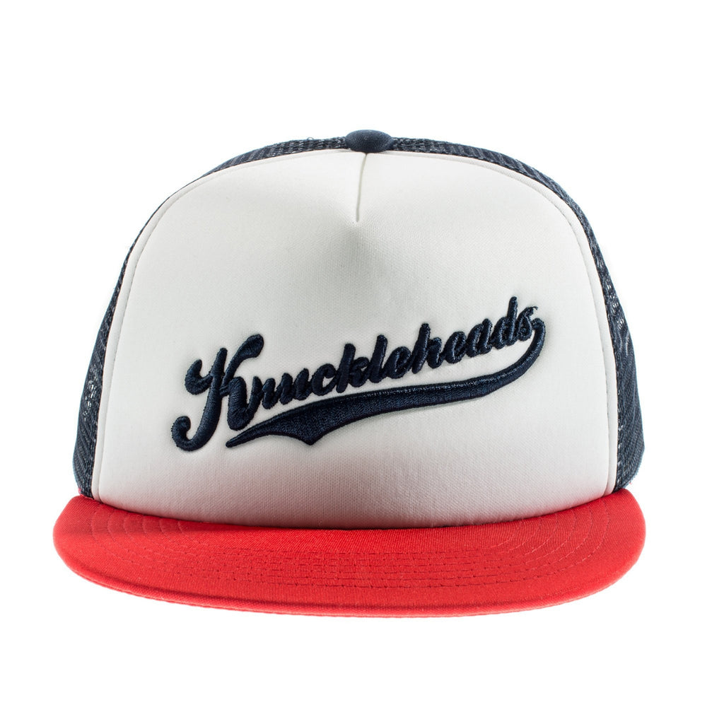 Red and Navy Knuckleheads Trucker Hat snapback flat bill sun mesh