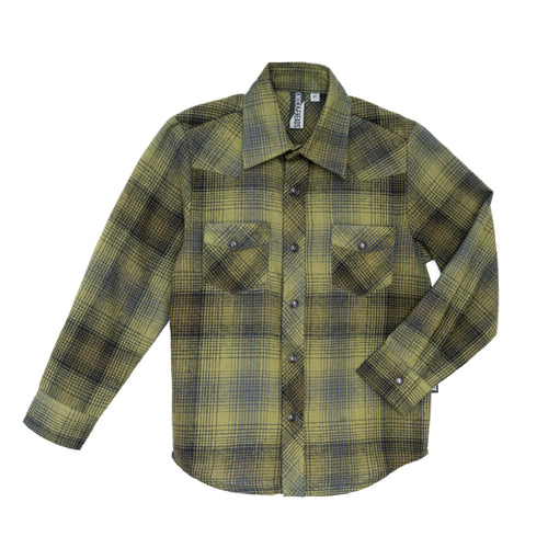 Green Plaid Knuckleheads Long Sleeve Rockabilly Shirt