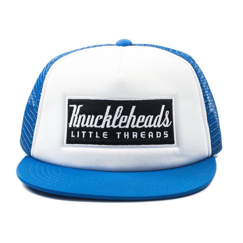 Blue Knuckleheads Patch Trucker Hat snapback flat bill sun mesh