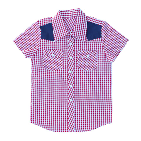 Knuckleheads Clothing Houston Plaid Button Down Short Sleeve Kids Boy Shirt