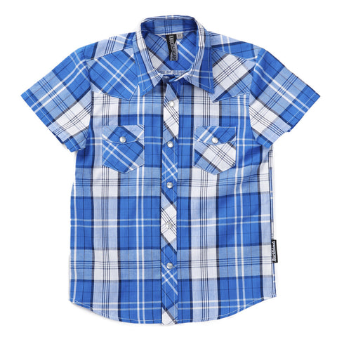 Knuckleheads Blue & White Plaid Rockabilly Shirt