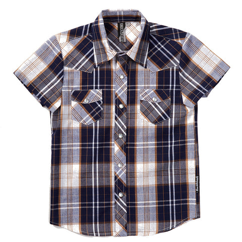 Knuckleheads Navy and Tan Black Plaid Rockabilly Shirt