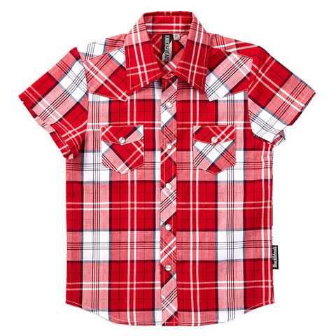 Knuckleheads Red & White Plaid Rockabilly Shirt