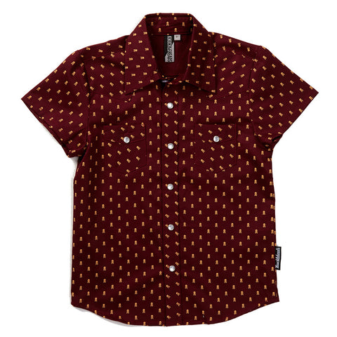 Knuckleheads Burgundy Plaid Rockabilly Shirt