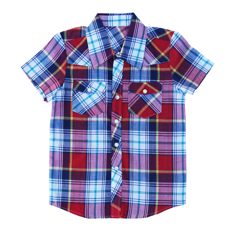 Knuckleheads Clothing Knox Plaid Button Down Short Sleeve Kids Boy Shirt
