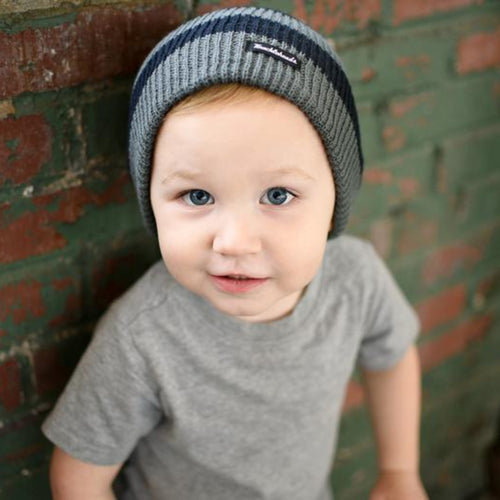Knuckleheads Black & Grey Stripes Slouchy Beanie