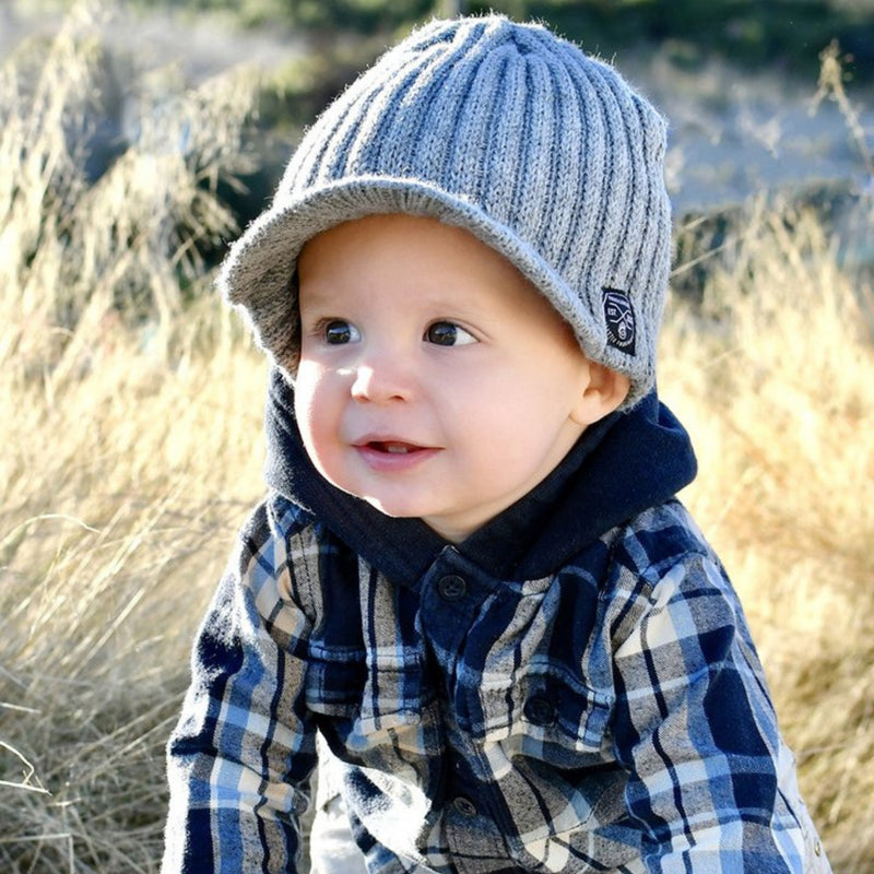 Knuckleheads Grey Baby Boy's Stripe Visor Beanie with Tag Baby Hat