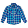 Blue & Lilac Knuckleheads Long Sleeve Plaid Rockabilly Shirt