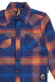 Blue & Orange Knuckleheads Long Sleeve Plaid Rockabilly Shirt