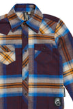 Burgundy & Blue Knuckleheads Long Sleeve Plaid Rockabilly Shirt