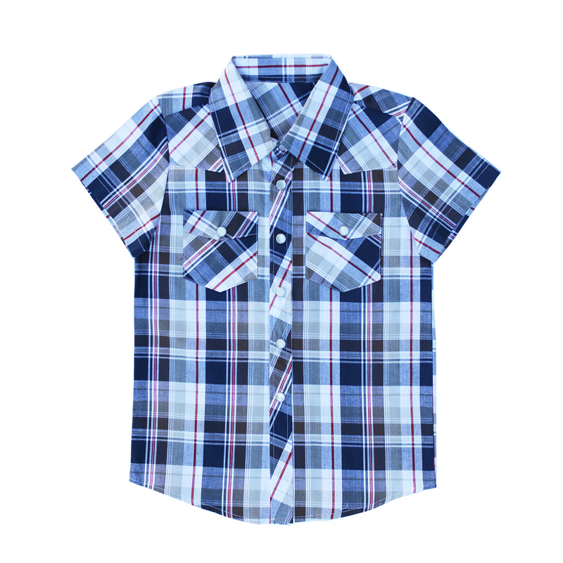 Knuckleheads Clothing Milo Plaid Button Down Short Sleeve Kids Boy Shirt