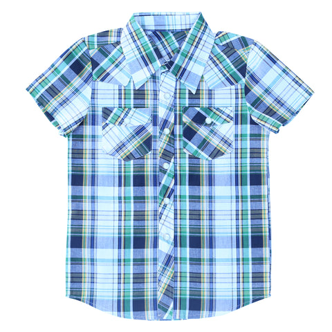 Knuckleheads Clothing Nash Plaid Button Down Short Sleeve Kids Boy Shirt