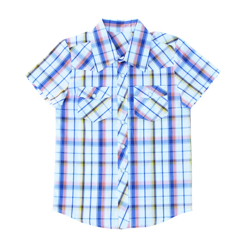Knuckleheads Clothing Sawyer Plaid Button Down Short Sleeve Kids Boy Shirt