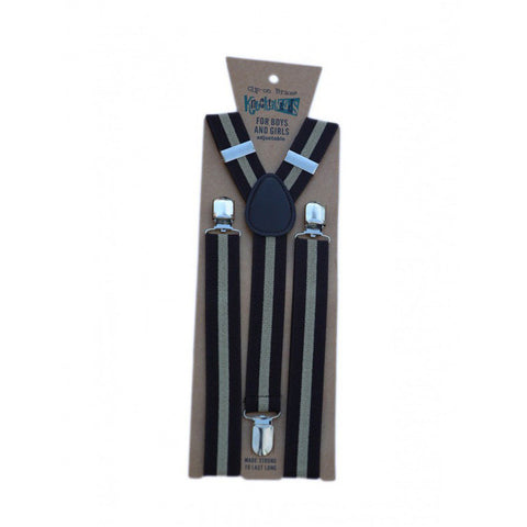 Black with White Stripes Suspenders
