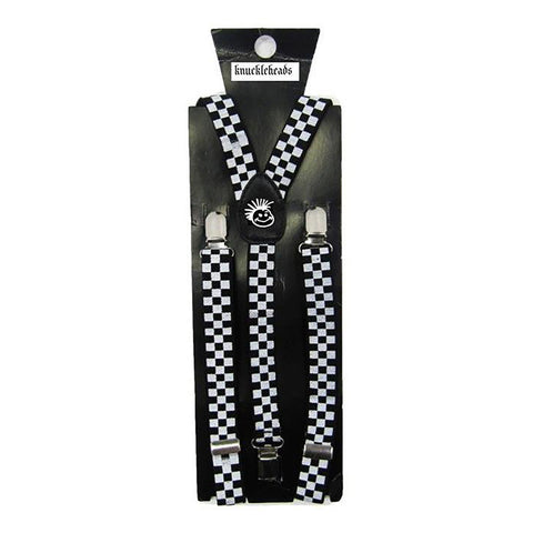White with Black Skull Prints Suspenders