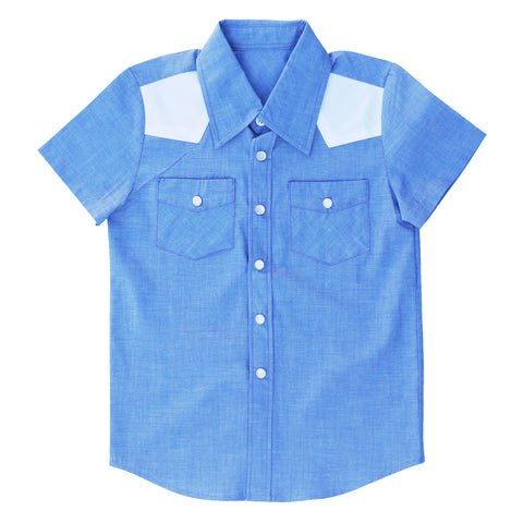 Knuckleheads Clothing Wesley Plaid Button Down Short Sleeve Kids Boy Shirt