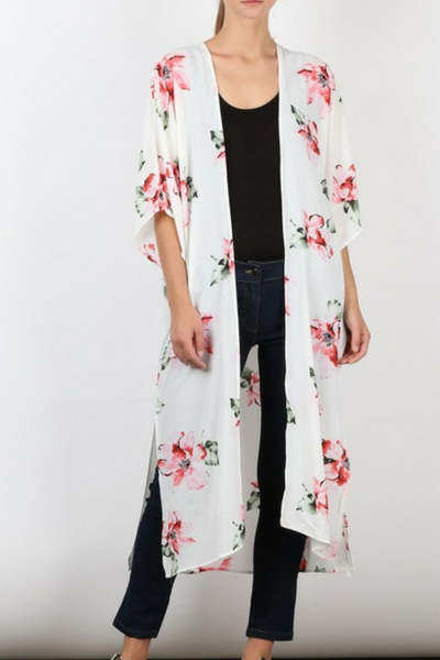 28be57d10 Ivory-Floral Long Light Weight Floral Kimono – Mush Boutique