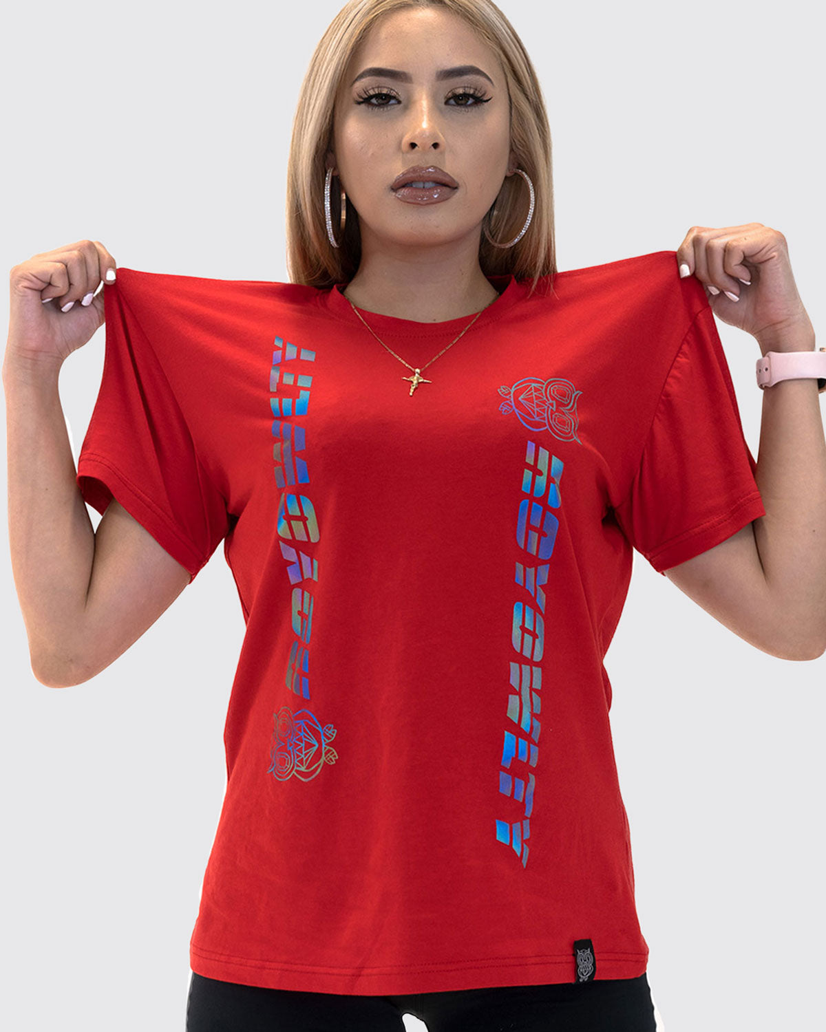 Rainbow Reflective Oversized Tee- Red