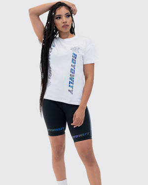 Rainbow Reflective Oversized Tee-White