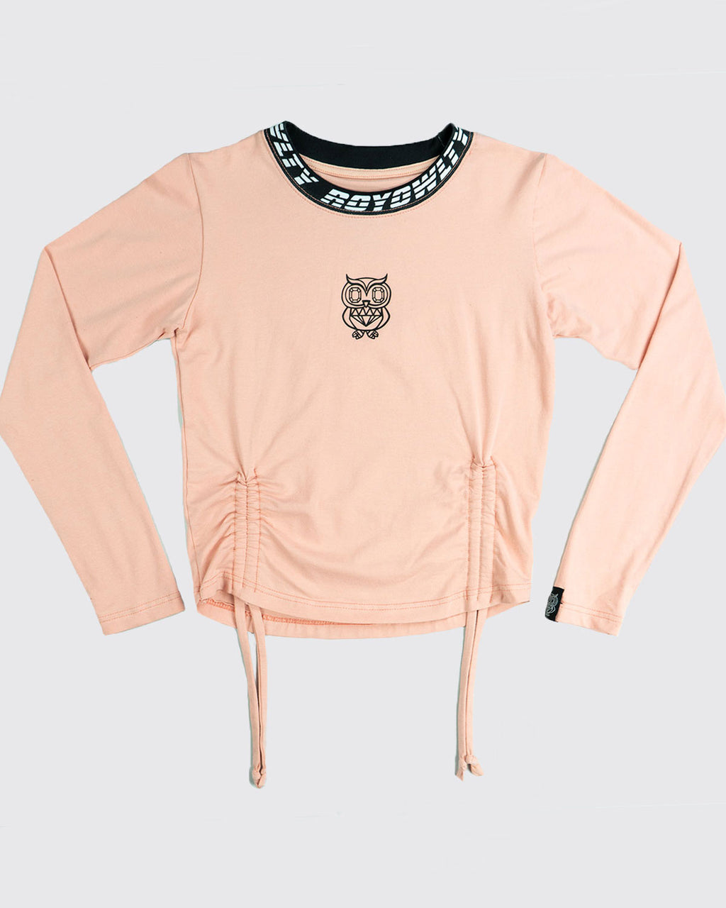 Neck Print Crop Tee with 3D logo-long sleeve