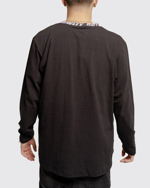 Neck Print Tee with 3D logo- Long sleeve
