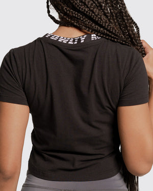 Neck Print  Crop Tee  with  3D Logo- short sleeve