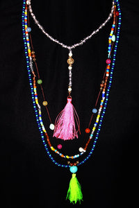 Multi Color Beaded Tassel Necklace