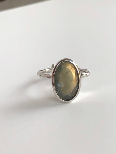 Large Labradorite Secret Skull Ring