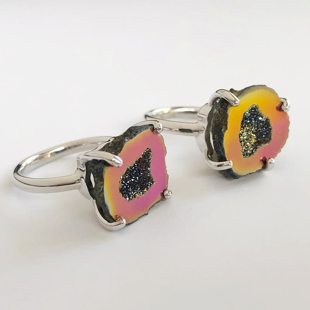 Rainbow Titanium Friend Stone Rings Set of 2