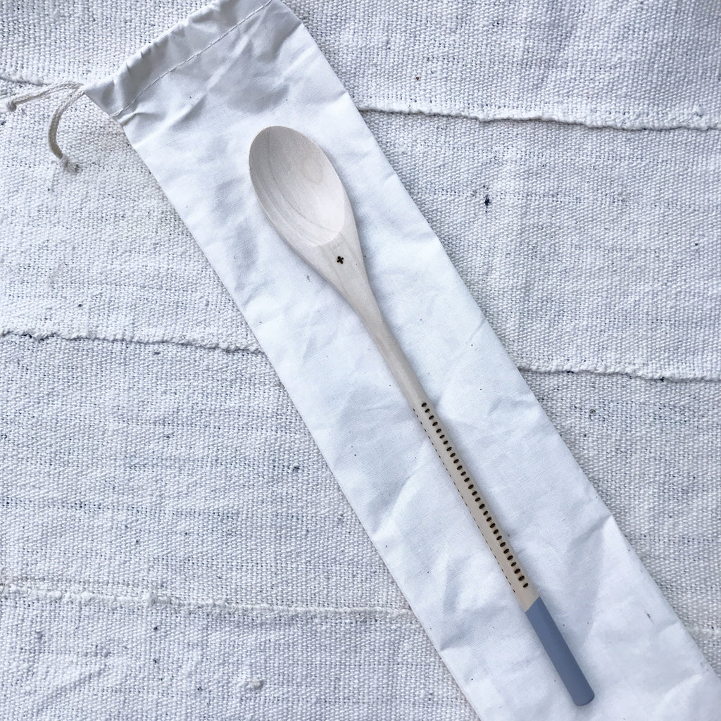 Hand Burned Wooden Spoon - COOL GREY