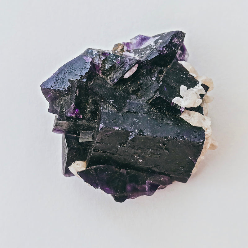 (HARMONY) Deep Purple Fluorite with Calcite