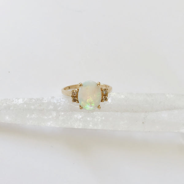 Opal + Diamond Pinkie or Midi Ring  *Vintage*