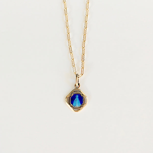 Blue  Mother Mary Necklace *VINTAGE*