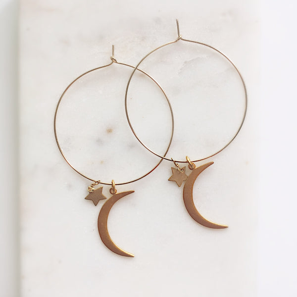 Star-Stuff Gold Hoops