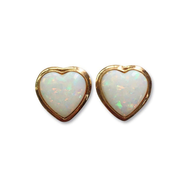 Opal Heart Earrings *Vintage*