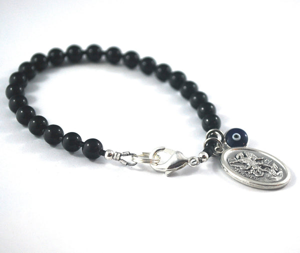Mens St Michael Bracelet evil eye black Onyx Catholic Saint Bracelet Male confirmation Gift Catholic Rosary bracelet Saint Michael Archangel
