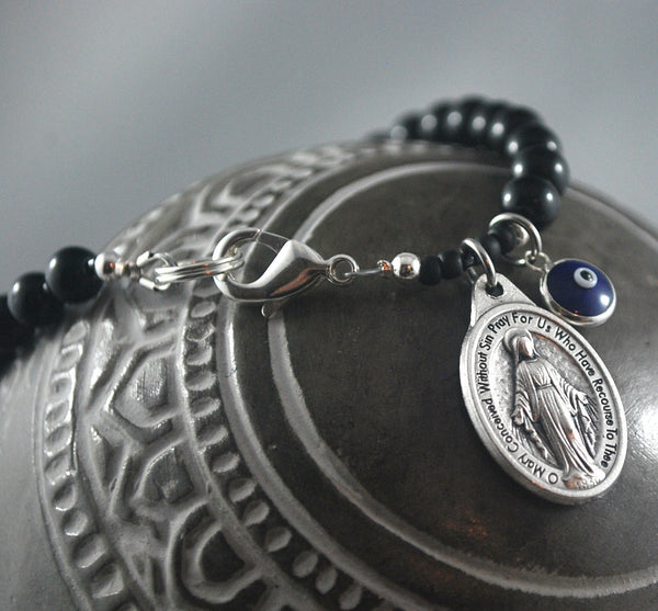 Mens Mary Bracelet evil eye black Onyx Catholic Mary Bracelet Male confirmation Gift Catholic Rosary bracelet Our Lady, Miraculous bracelet