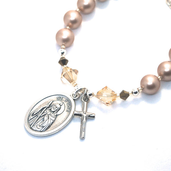 St Jude Catholic Saint bracelet + cross, Gold Pearl Saint Jude Bracelet Prayer devotional gift patron saint catholic rosary bracelet faith
