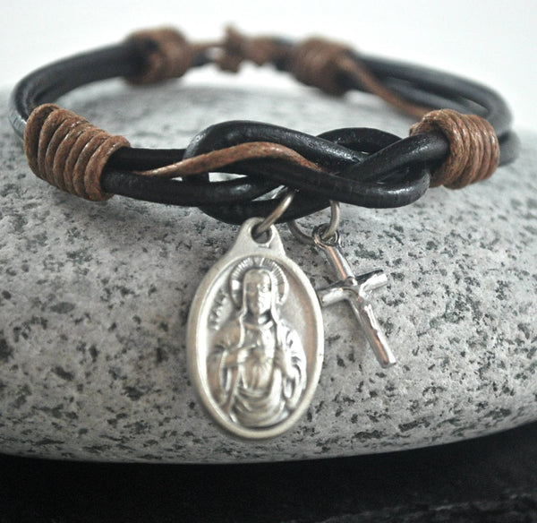 Jesus + cross brown Leather bracelet. Sacred Heart, Jesus bracelet Catholic bracelet silver cross Male confirmation gift Protection bracelet