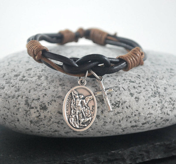 St Michael + cross brown Leather bracelet. Saint Michael bracelet Catholic bracelet silver cross Male confirmation gift, Protection bracelet