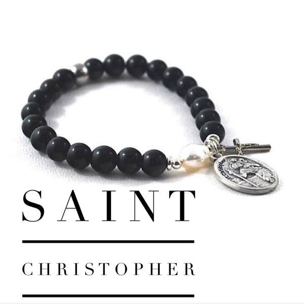 St Christopher bracelet patron saint of travellers. Prayer bracelet wanderlust farewell gift onyx and pearl