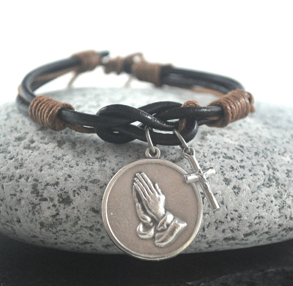 Serenity Prayer + cross brown Leather bracelet. Serenity prayer bracelet Catholic bracelet silver cross Male confirmation gift Prayer