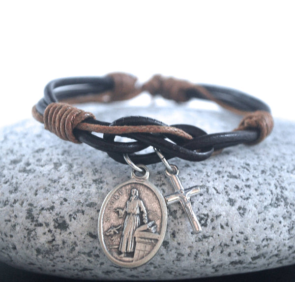 St Luke + cross brown Leather bracelet Saint Luke bracelet Catholic bracelet silver cross Male confirmation gift prayer Protection bracelet